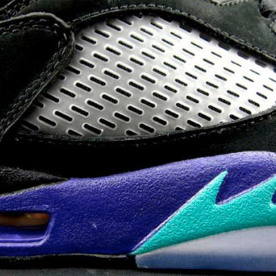 "Speed Kills  The Jordan 5 was partly inspired by flames found on speedy WW2 planes. MJ and Tinker would talk about on-court speed and ""zigging"" while the other players were ""zagging,"" hence, the flames point forward instead of backward."