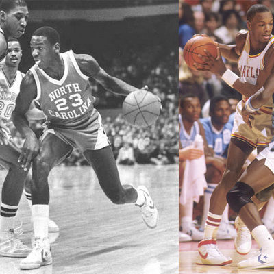 These GOATs Ain't Loyal  Despite his long-standing relationship with Nike, Converse and adidas were actually MJ's favorite kicks during his days at UNC.